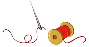 Farbillu: Nadel mit Faden und Garnrolle