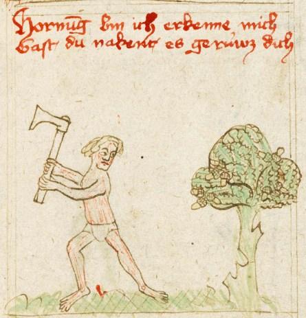 sehr alte einfache Zeichnung: Mann mit Beil vor einem Baum