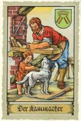 Sammelbild: Mann schaut Kind dabei zu, wie es den Hund kämmt