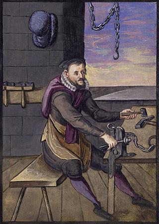 Buchmalerei: Mann fügt am Schraubstock Kettenglieder zusammen