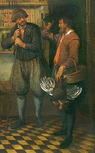 Gemälde: Vogler liefert erlegten Fasan an Kunden ab - 1668