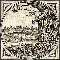 Holzstich: Vogelsteller beobachtet Klappnetzanlage - 1712