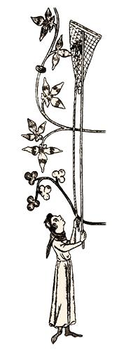 Zeichnung: Mann hält Netzsack an zwei langen Stangen in die Höhe - 1300