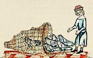 farbige Buchmalerei: Mann treibt Tauben in einen Reusenkorb -1350