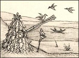 Zeichnung: in Blattwerk verborgener Mann mit Leimrute - 1500