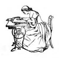 sw-illu: Frau an einer Nähmaschine sitzend