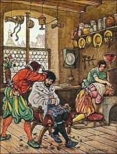 kolorierter Holzstich: Meister schneidet einem Mann das Haar, Gehilfe bei Kopfwäsche eines anderen