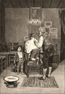 sw Litho: zwei Knaben beim Dorfbarbier - 1878, Dänemark