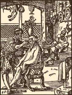 Holzschnitt: Meister schneidet einem Mann das Haar, Gehilfe bei Kopfwäsche eines anderen