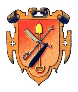 orangerotes verschnörkeltes Wappen mit Rasiermesser und anderen Gerätschaften