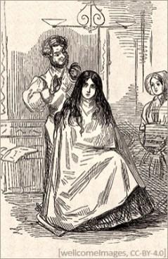 Stich: einem Mädchen wird das lange Haar gekürzt
