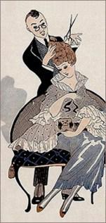 Farblitho: Dame mit Schoßhündchen wird mit Lockenschere bearbeitet