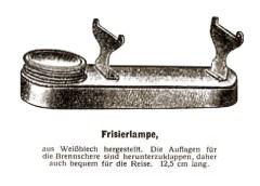 sw Zeichnung: Weißblechbehälter für Spiritus mit klappbaren Brennscherenauflagen und Schraubdeckel über Docht - 1925