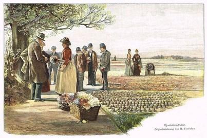 Holzstich: Besucher schauen sich Blumen an