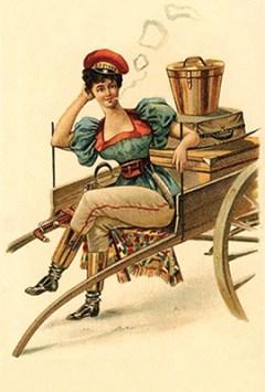 Farblitho-Postkarte: fesche Gepäckträgerin auf Karren sitzend bei Rauchpause