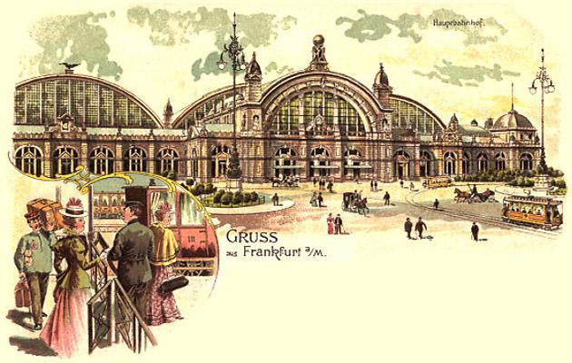 Farblitho-PK: Träger und Reisende am Hauptbahnhof