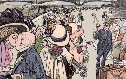 Farblitho-Postkarte: einfahrender Zug, viele Leute und Gepäckträger