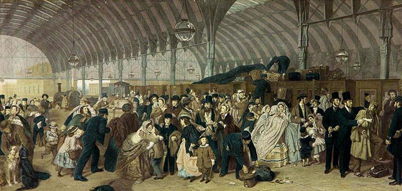 Farblitho: mehrere Träger im Gedränge vieler Reisender auf dem Bahnsteig