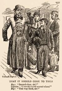 gezeichnete Karikatur + Text: Gepäckboy und Kapitän auf Bahnsteig
