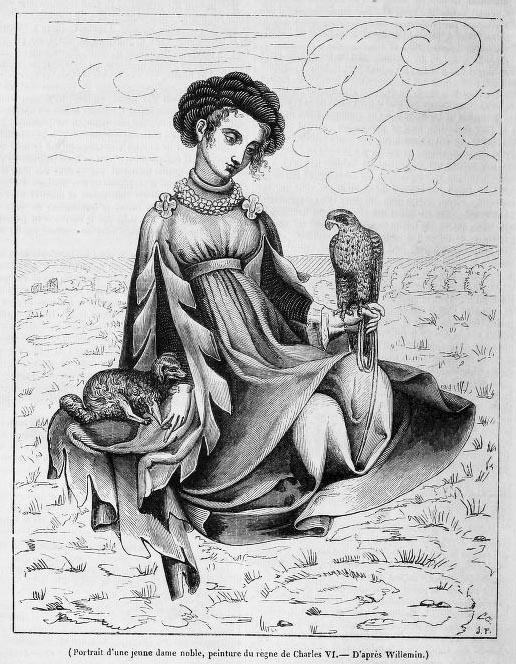 junge, adlige Frau mit Falken auf der Hand