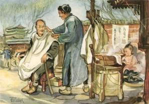 Aquarell: - Wanderfriseur und Kund - 1953, Asien