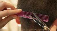 Farbfoto: Haare mittels Kamm auf gleiche Länge schneiden
