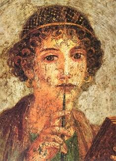 Fresco: Frau mit einem einer Kappe ähnelnden Schmucknetz