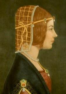 Gemälde: Profilansicht der jungen Beatrice mit Haarnetz