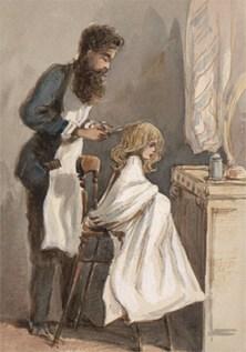 Aquarell: Friseur bearbeitet das Haar eine Mädchens mit einer Brennschere