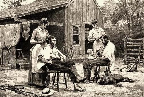 Radierung: zwei Rancher lassen sich im Freien die Haare schneiden - 1900, Texas