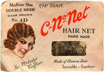Farbfoto: Haarnetz aus Echthaar in Verpackung - 1930, England