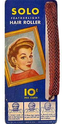 Farbfoto: Pappkarte mit filigranem Drahtgitterwickler - 1940, USA