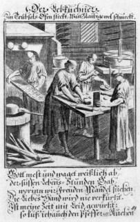 bier Pfefferküchler beim Arbeitsprozess, dazu religiöser Text