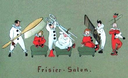 farbige Künstlerkarte: kleine Clowns mit riesigem Werkzeug beim Frisieren und Haareschneiden