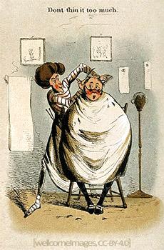 Farblitho: Kunde mit spärlichem Haarwuchs sagt Friseur, dass er nicht zu sehr ausdünnen solle