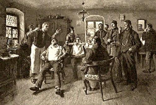 sw Gemäldefoto: zwei Herren werden vom Friseur und seiner Frau bedient, weitere Kunden warten plaudernd - 1885, Ungarn