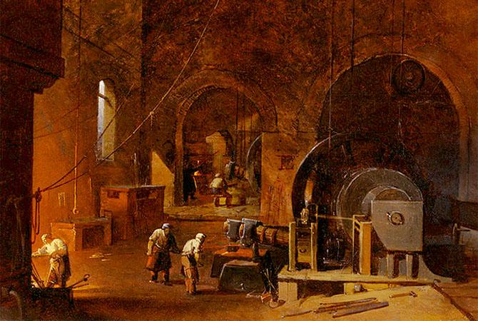 Gemälde: Einblick in eine Schmiede mit riesigen Eisenhämmern - 1850, England