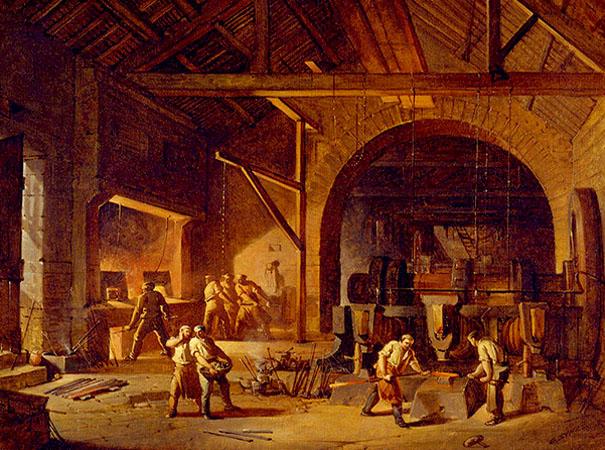 Gemälde: viele beschäftigte Arbeiter in einer Eisenhammerschmiede