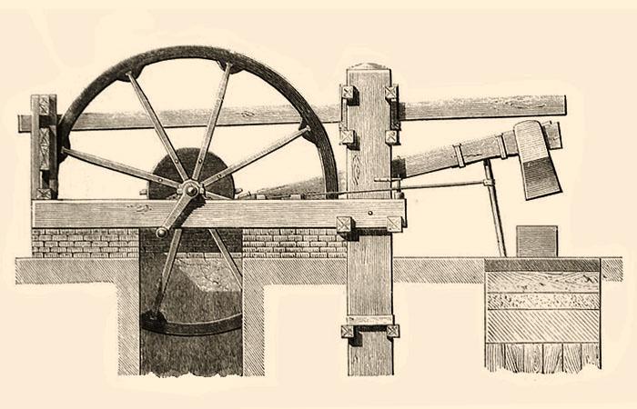 schematische Darstellung: Eisenhammer mit Wasserradantrieb - 1868