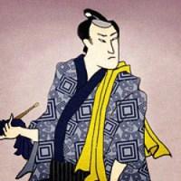 Farblitho: Japanischer Ohrenreiniger mit Ohrlöffel
