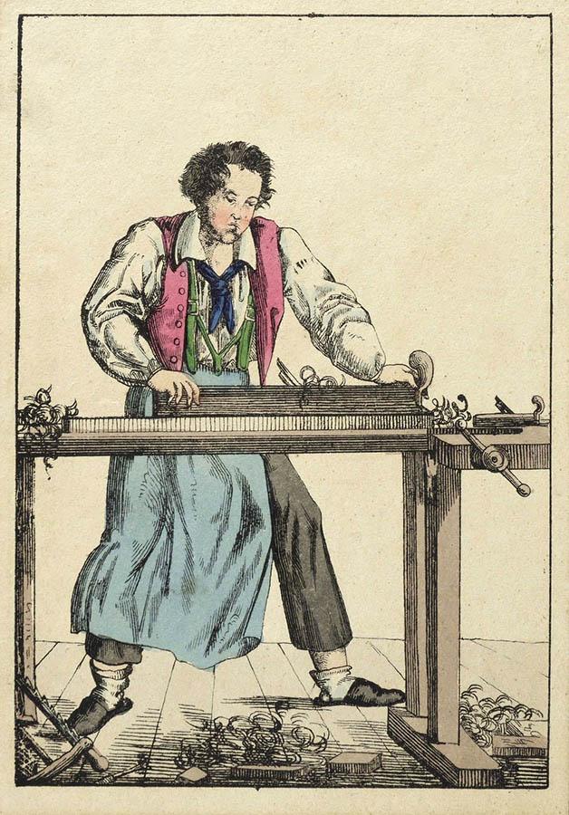Handwerker an der Hobelbank
