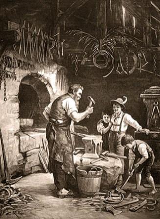 sw Gemäldefoto: drei Buben zu Besuch beim Dorfschmied - 1882