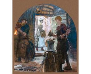 Gemälde: Dirne geht an offener Tür vorbei, Jungschmied am Amboss mit Rose im Mund, schmunzenlder Meister am Feuer
