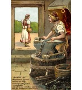 Künstlerkarte: Lore geht an offener Tür vorbei, Schmied steht verträumt hinterm Amboss