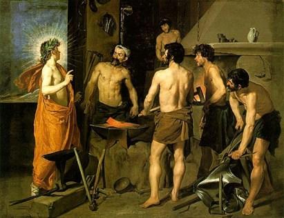 Gemälde: Apollo zu Besuch bei Vulcanus und seinen Gehilfen