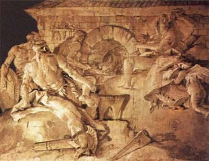 Fresko: Venus zu Besuch bei Vulcanus und seinen Schmieden