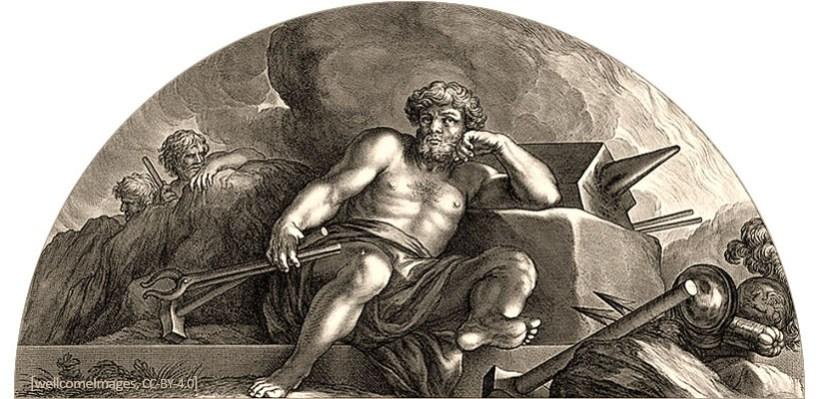 sw Litho: Vulcanus mit Werkzeug vor Felsblock mit Amboss sitzend