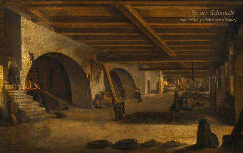 Gemälde: mehrere unterschiedlich beschäftigte Arbeiter in einer großen Schmiede