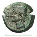 römische Münze: Vulcanuskopf im Profil mit Filzkappe und Zange - um 250 v. Chr.