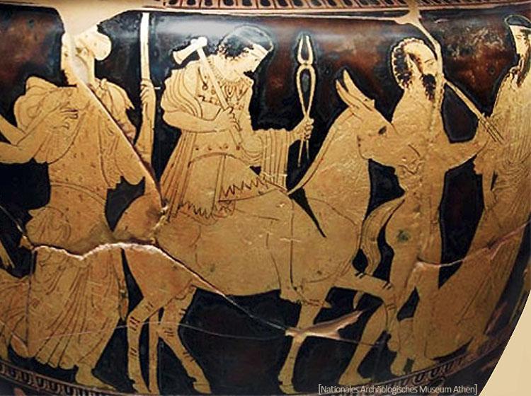 bemalte Keramik: Hepaistos mit Hammer und Zange auf einem Esel reitend